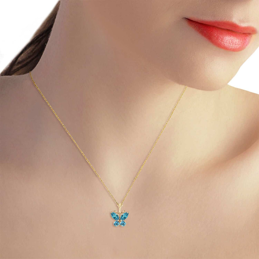 0.6 Carat 14K Solid Yellow Gold Butterfly Necklace Blue Topaz - Necklace - valdajewelry - valdajewelry