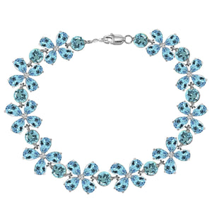 20.7 Carat 14K Solid White Gold Bracelets Natural Blue Topaz