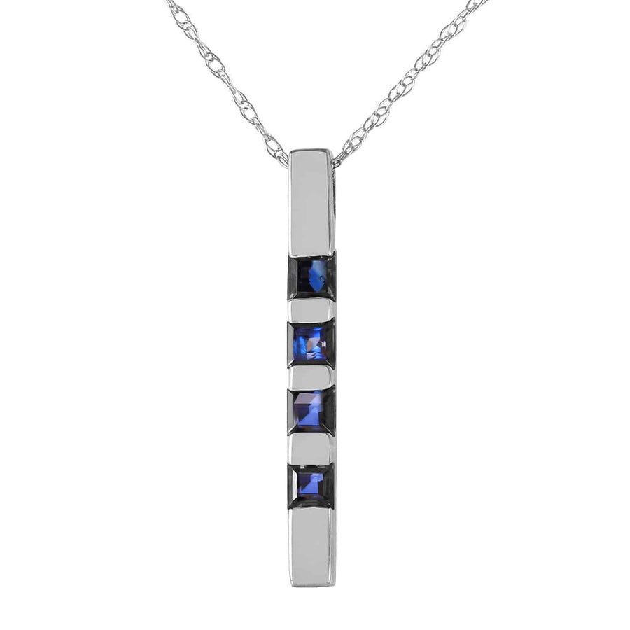 0.35 Carat 14K Solid White Gold Necklace Bar Natural Sapphire - Necklace - valdajewelry - valdajewelry