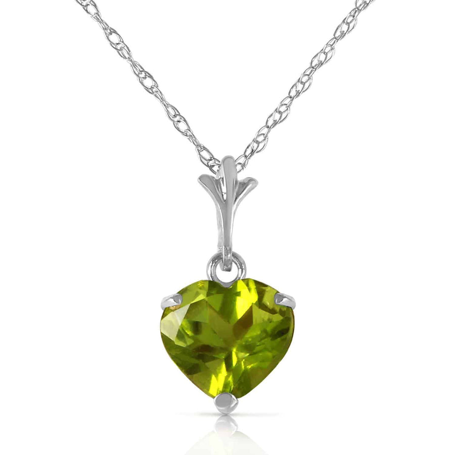 1.15 Carat 14K Solid White Gold Warmer Climate Peridot Necklace