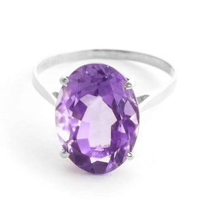 7.55 Carat 14K Solid White Gold Ring Natural Oval Purple Amethyst