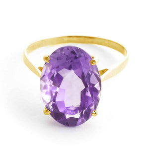 7.55 Carat 14K Solid Yellow Gold Ring Natural Oval Purple Amethyst