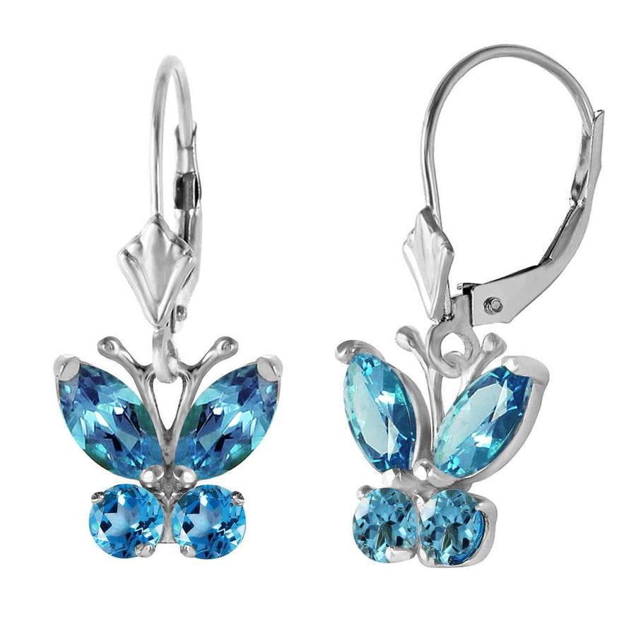 1.24 Carat 14K Solid White Gold Butterfly Earrings Blue Topaz