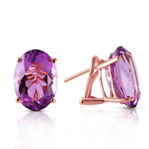15.1 Carat 14K Solid Rose Gold French Clips Earrings Natural Amethyst