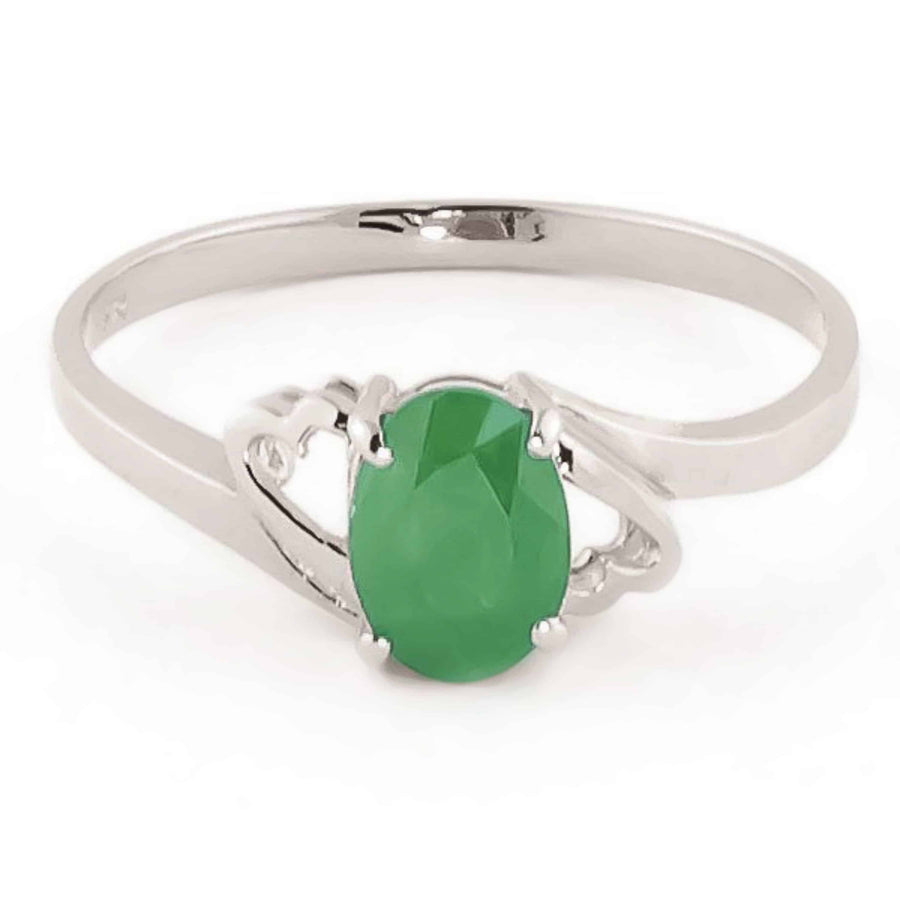 0.75 Carat 14K Solid White Gold Rings Natural Emerald - Ring - valdajewelry - valdajewelry