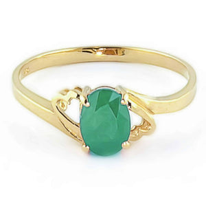 0.75 Carat 14K Solid Yellow Gold Rings Natural Emerald - Ring - valdajewelry - valdajewelry