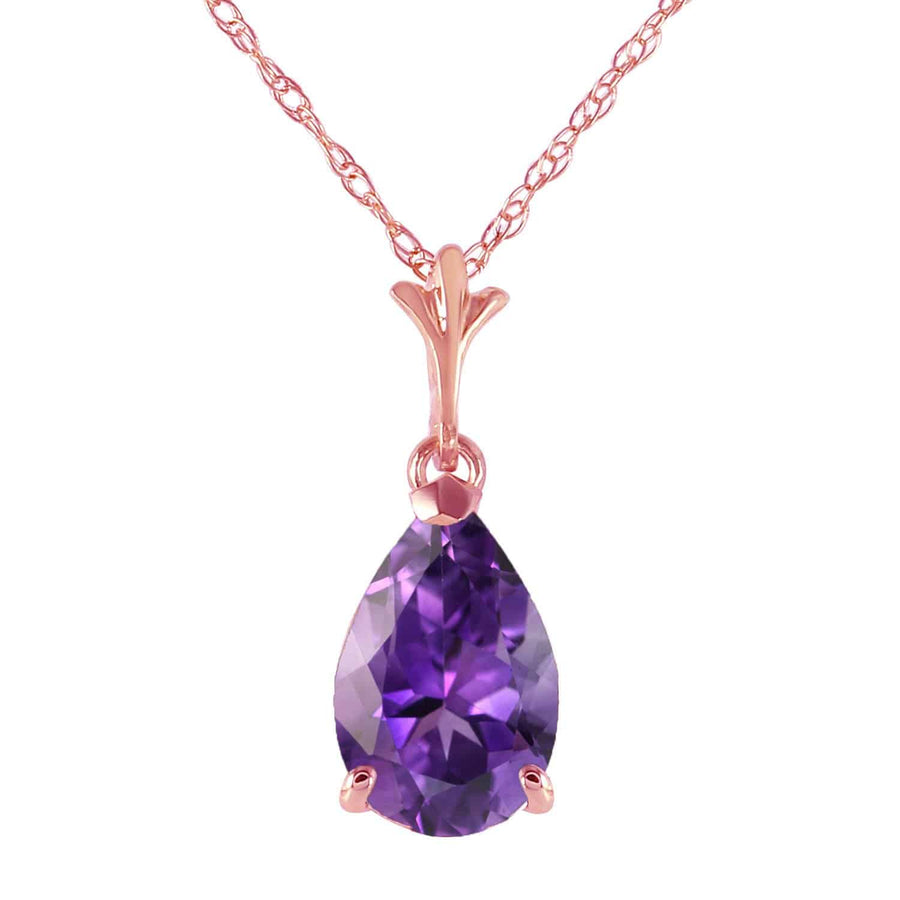 1.5 Carat 14K Solid Rose Gold Pear Amethyst Necklace