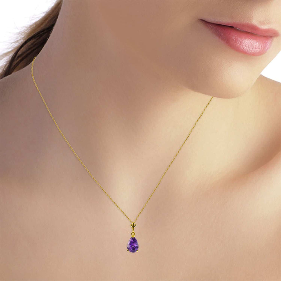 1.5 Carat 14K Solid Yellow Gold Memory Lane Amethyst Necklace
