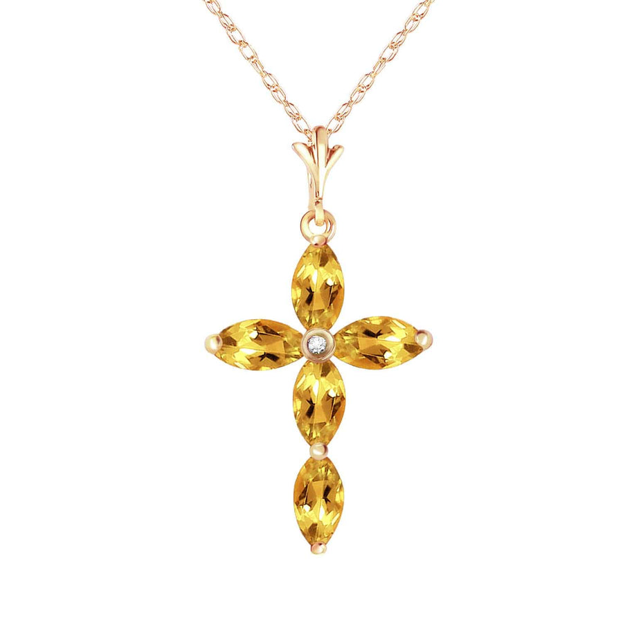 1.23 Carat 14K Solid Yellow Gold Necklace Natural Diamond Citrine