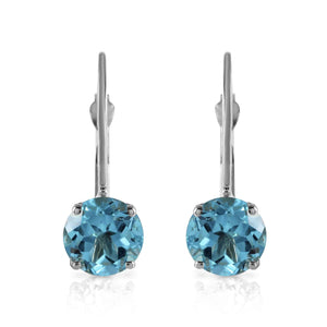 1.2 Carat 14K Solid White Gold Pay Attention Blue Topaz Earrings