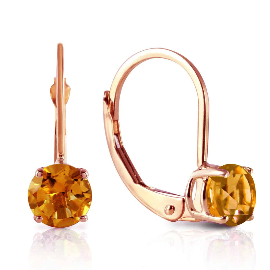 1.2 Carat 14K Solid Rose Gold Solitaire Citrine Earrings