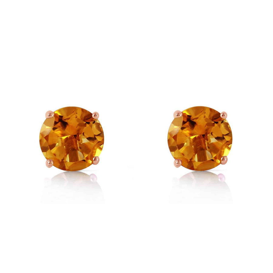 0.95 Carat 14K Solid Rose Gold Petite Citrine Stud Earrings - Earring - valdajewelry - valdajewelry
