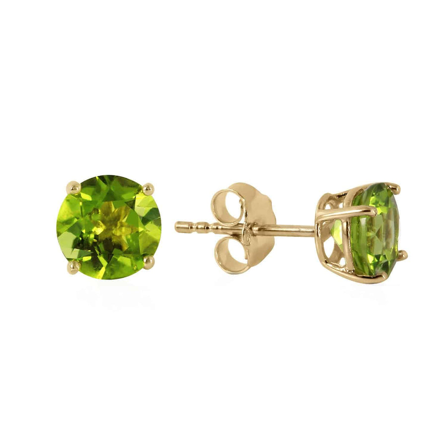 0.95 Carat 14K Solid Yellow Gold Fire And Determination Peridot Earrings - Earring - valdajewelry - valdajewelry