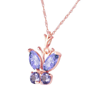 0.6 Carat 14K Solid Rose Gold Butterfly Necklace Tanzanite - Necklace - valdajewelry - valdajewelry