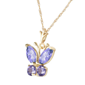 0.6 Carat 14K Solid Yellow Gold Butterfly Necklace Tanzanite - Necklace - valdajewelry - valdajewelry