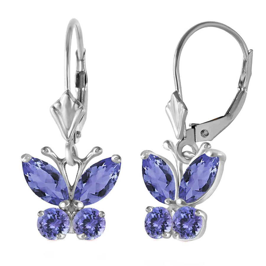 1.24 Carat 14K Solid White Gold Butterfly Earrings Natural Tanzanite