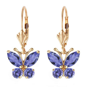 1.24 Carat 14K Solid Yellow Gold Butterfly Earrings Natural Tanzanite