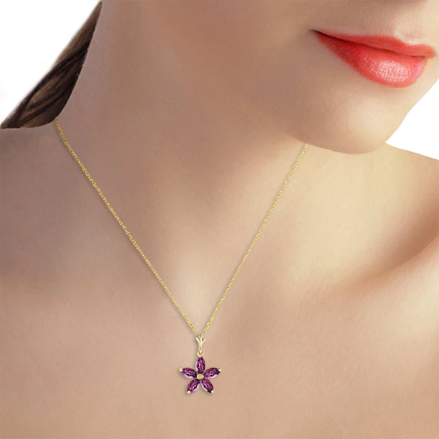 1.4 Carat 14K Solid Yellow Gold Tendency To Love Amethyst Necklace