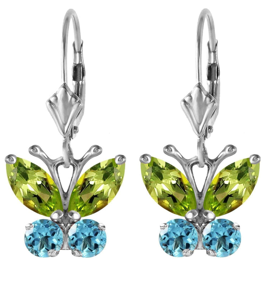1.24 Carat 14K Solid White Gold Butterfly Earrings Peridot Blue Topaz