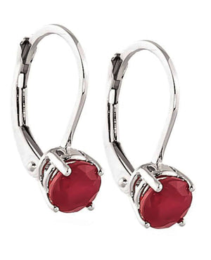 1.2 Carat 14K Solid White Gold Race Your Heart Ruby Earrings