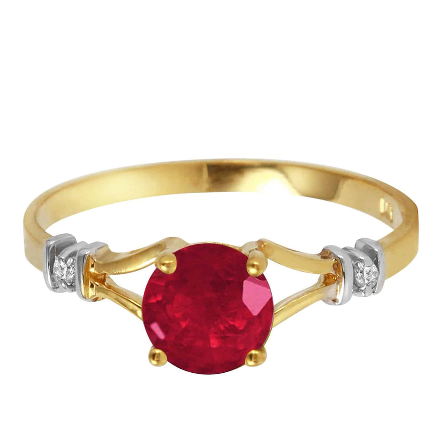 1.02 Carat 14K Solid Yellow Gold Ruby Perspiration Ruby Diamond Ring - Ring - valdajewelry - valdajewelry