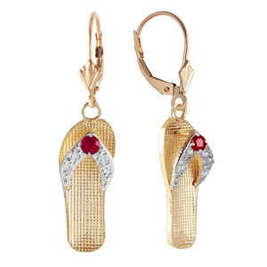 0.3 Carat 14K Solid Yellow Gold Shoes Leverback Earrings Natural Ruby - Earring - valdajewelry - valdajewelry