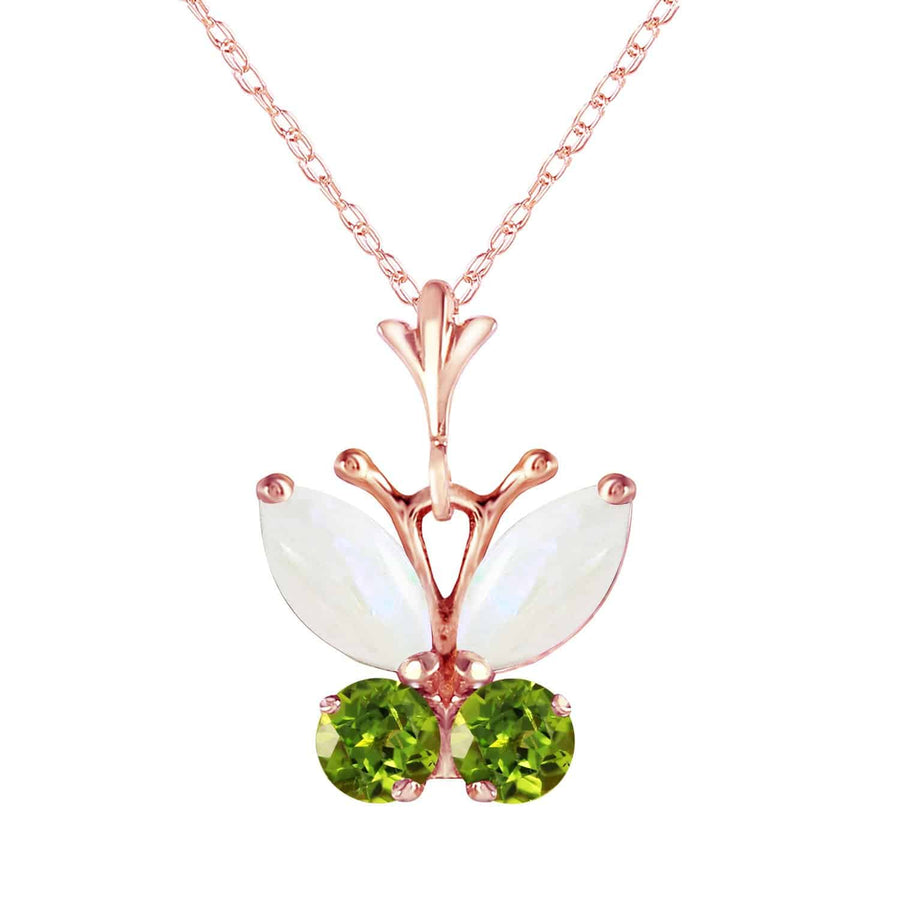 0.7 Carat 14K Solid Rose Gold Butterfly Necklace Opal Peridot - Necklace - valdajewelry - valdajewelry