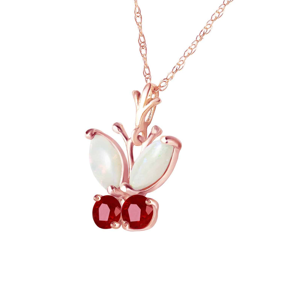 0.7 Carat 14K Solid Rose Gold Butterfly Necklace Opal Ruby - Necklace - valdajewelry - valdajewelry