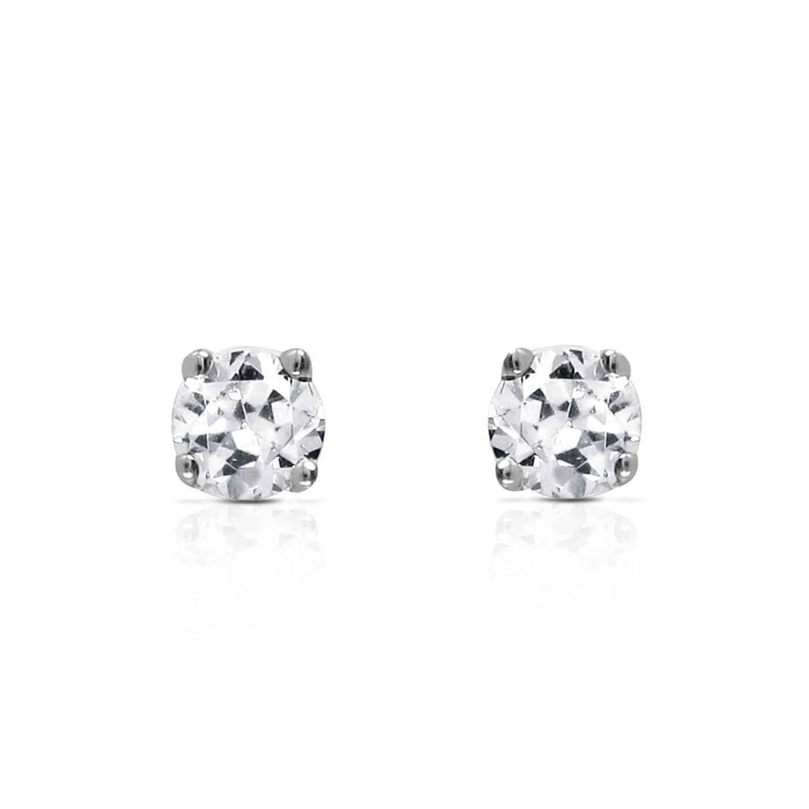 0.1 Carat 14K Solid White Gold Stud Earrings 0.10 Carat Natural Diamond - Earring - valdajewelry - valdajewelry