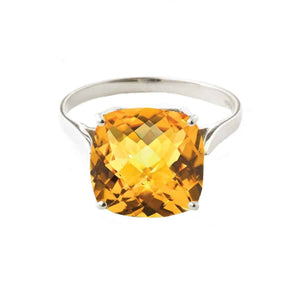 3.6 Carat 14K Solid White Gold Ring Natural Checkerboard Cut Citrine