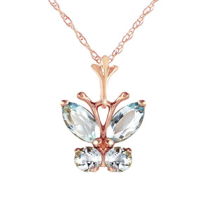 0.6 Carat 14K Solid Rose Gold Butterfly Necklace Aquamarine - Necklace - valdajewelry - valdajewelry