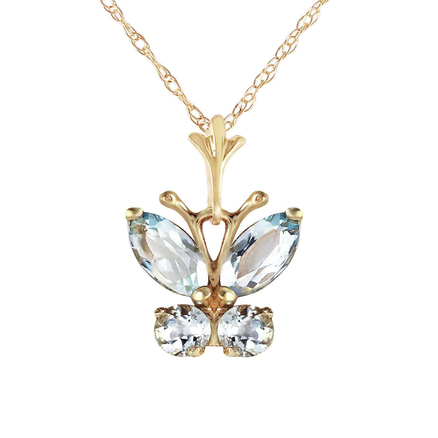 0.6 Carat 14K Solid Yellow Gold Butterfly Necklace Aquamarine - Necklace - valdajewelry - valdajewelry