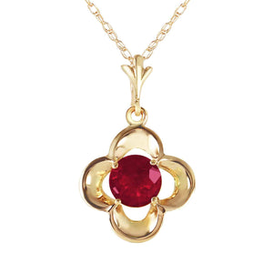 0.55 Carat 14K Solid Yellow Gold Hearts's Journey Ruby Necklace - Necklace - valdajewelry - valdajewelry