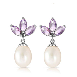 9.5 Carat 14K Solid White Gold Dangling Earrings Pearl Tanzanite