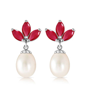 9.5 Carat 14K Solid White Gold Dangling Earrings Pearl Ruby