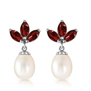 9.5 Carat 14K Solid White Gold Dangling Earrings Pearl Garnet