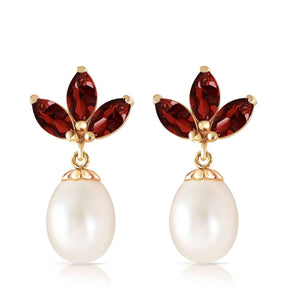 9.5 Carat 14K Solid Yellow Gold Dangling Earrings Pearl Garnet
