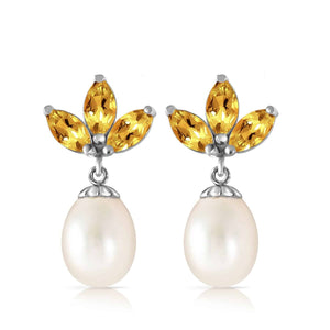 9.5 Carat 14K Solid White Gold Dangling Earrings Pearl Citrine