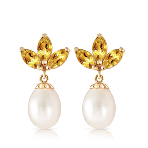 9.5 Carat 14K Solid Yellow Gold Dangling Earrings Pearl Citrine