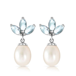 9.5 Carat 14K Solid White Gold Dangling Earrings Pearl Aquamarine