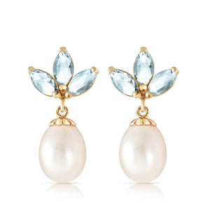 9.5 Carat 14K Solid Yellow Gold Dangling Earrings Pearl Aquamarine