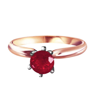 14K Solid Rose Gold Solitaire Ring Natural Ruby Certified