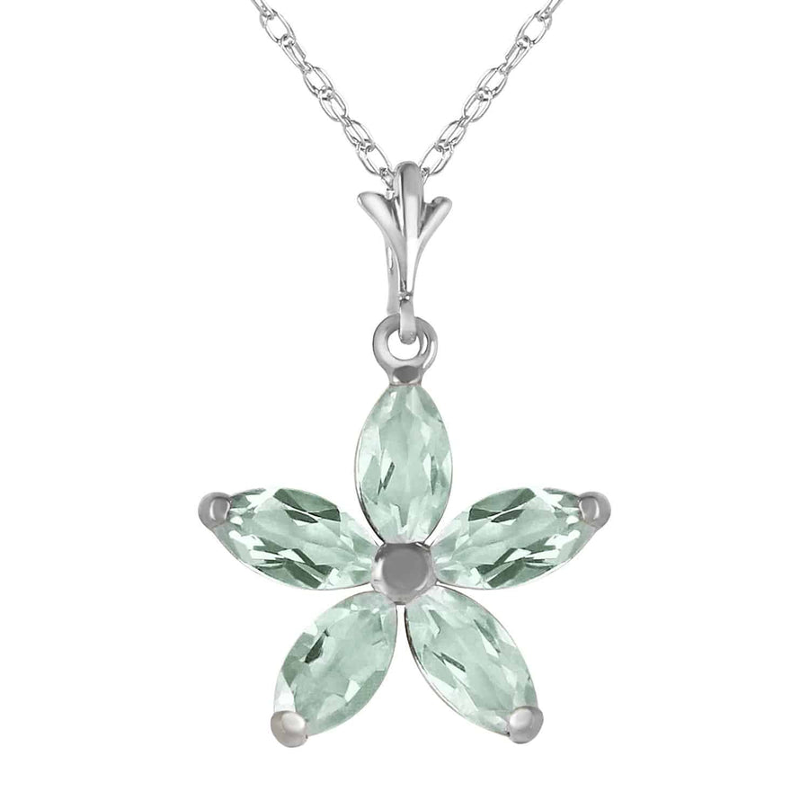 1.4 Carat 14K Solid White Gold Shall Be Again Green Amethyst Necklace