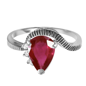 1.52 Carat 14K Solid White Gold Wholehearted Pleasure Ruby Diamond Ring