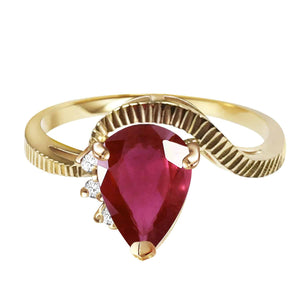 1.52 Carat 14K Solid Yellow Gold Hit The Trend Ruby Diamond Ring