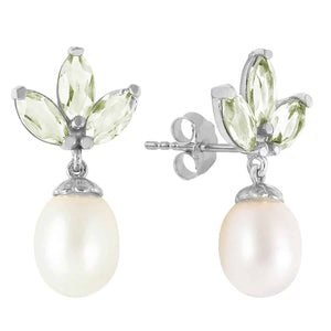 9.5 Carat 14K Solid White Gold Dangling Earrings Pearl Green Amethyst