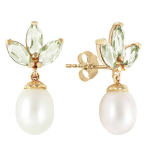 9.5 Carat 14K Solid Yellow Gold Dangling Earrings Pearl Green Amethyst