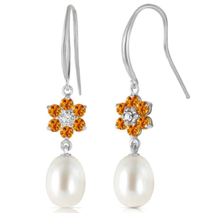 9.01 Carat 14K Solid White Gold Fish Hook Earrings Diamond, Citrine Pearl