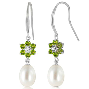 9.01 Carat 14K Solid White Gold Fish Hook Earrings Diamond, Peridot Pearl