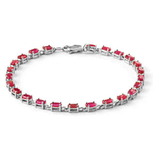 8 Carat 14K Solid White Gold Tennis Bracelet Natural Ruby